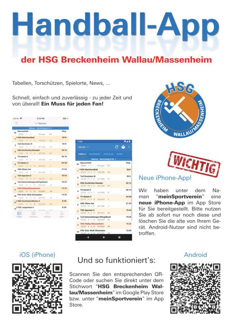 Read more about the article Handball-App der HSG Breckenheim Wallau/Massenheim